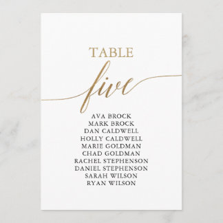 Elegant Gold Table Number 5 Seating Chart