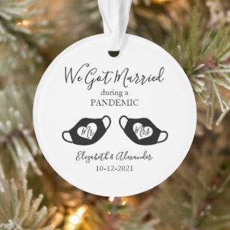 Elegant Married during Pandemic Photo Christmas Ornament