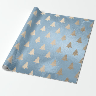 Elegant modern gold & blue Christmas tree pattern Wrapping Paper