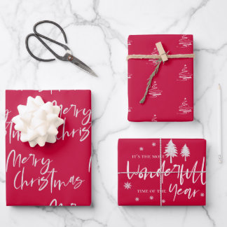 Elegant Red Merry Christmas Quote Gift Wrapping Paper Sheets
