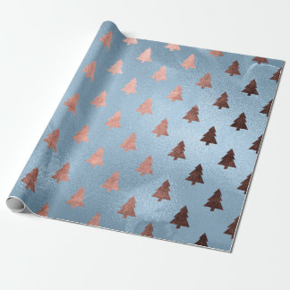 Elegant rose gold & blue Christmas tree pattern Wrapping Paper