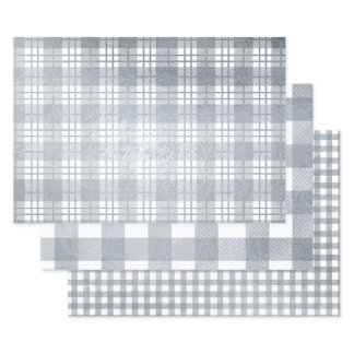 Elegant Silver Plaid Holiday Sparkle Set of Foil Wrapping Paper Sheets