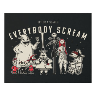 Everybody Scream - Halloween Town Group Faux Canvas Print
