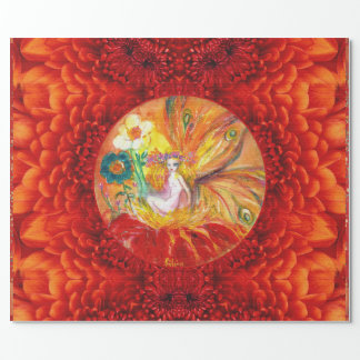 FAIRY OF THE FLOWERS Red Yellow Fantasy Wrapping Paper