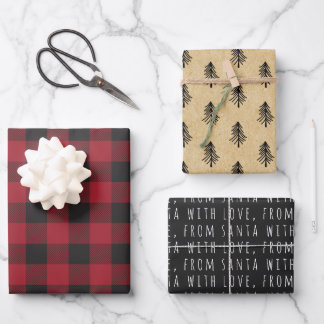 Farmhouse Red Buffalo Check Typography Christmas Wrapping Paper Sheets