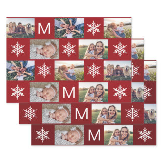 Festive Berry Snowflakes Monogram Photo Collage Wrapping Paper Sheets