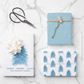Festive Blue Christmas Tree Watercolor Holiday Wrapping Paper Sheets