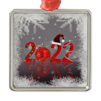 Festive Red Merry Christmas New Year 2022 Metal Ornament