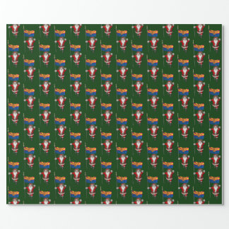Festive Santa With Ensign Of Arizona Wrapping Paper