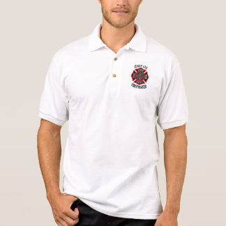 Firefighter Custom Text Name Personalized Polo Shirt