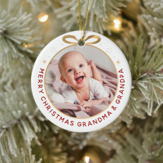 First Christmas as Grandparents Red Gold Photo Ceramic Ornament
