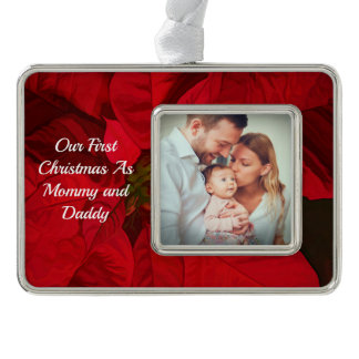 First Christmas As Mommy Daddy Red Christmas Ornament