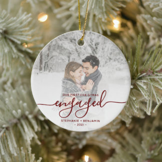 First Christmas Engaged Custom Photo Red Script Ceramic Ornament