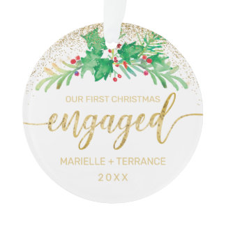 First Christmas Engaged Gold Glitter Script Holly Ornament