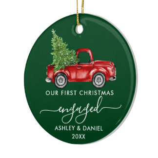 First Christmas Engaged Truck Calligraphy PHOTO Ceramic Ornament