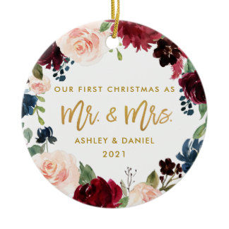 First Christmas Gold Floral | Photo Back Ceramic Ornament