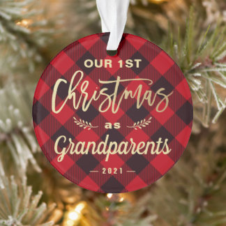 First Christmas Grandparents Gold Red Plaid Photo Ornament