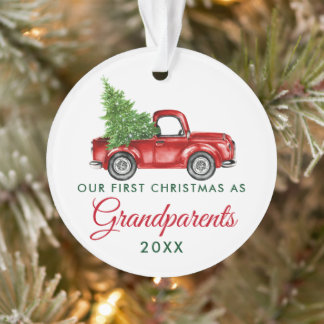 First Christmas Grandparents Vintage Red Truck Ornament