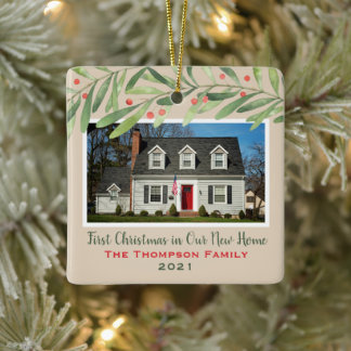 First Christmas in Our New Home Greenery Photo Ceramic Ornament