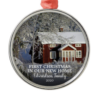 First Christmas in our new Home photo family name Metal Ornament