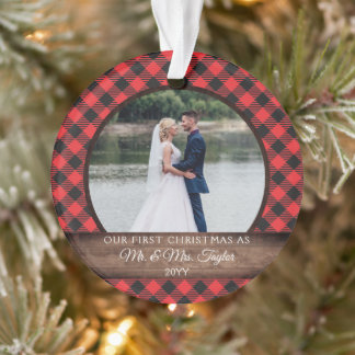 First Christmas Married Rustic Mr. Mrs. PHOTO Ornament