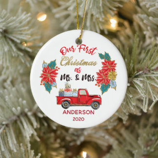 First Christmas Married Rustic Red Truck Photo Ceramic Ornament