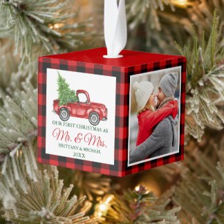 First Christmas Mr. and Mrs. Red Truck Plaid Cube Ornament