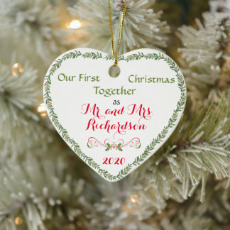 First Christmas Together as Mr. and Mrs. Ceramic Ornament