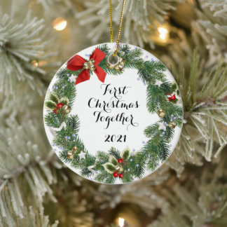 First Christmas Together   Holiday Wreath Ceramic  Ceramic Ornament