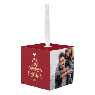 First Christmas together red and gold photo  Cube Ornament