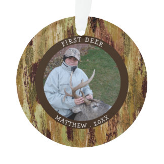 FIRST DEER Hunting Photo Camouflage Personalized Ornament
