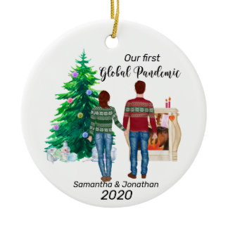First Global Pandemic 2020  Couple Brown Hair Ceramic Ornament