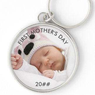 First Mothers Day Custom Year Baby Photo Keychain