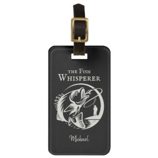 Fish Whisperer Sporty Fisherman with Name Luggage Tag