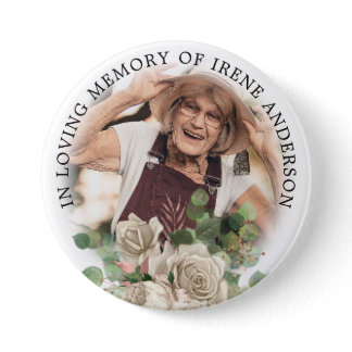 Floral In Loving Memory | Remembrance Photo Button