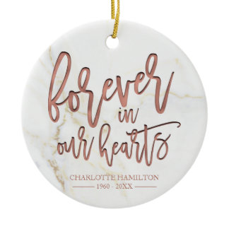 Forever In Our Hearts Personalized Photo Memorial Ceramic Ornament