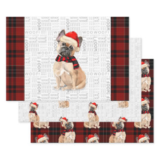 French Bulldog Christmas Dog and Plaid Wrapping Paper Sheets