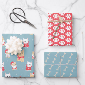 French Bulldog Frenchie Christmas Pattern Wrapping Paper Sheets