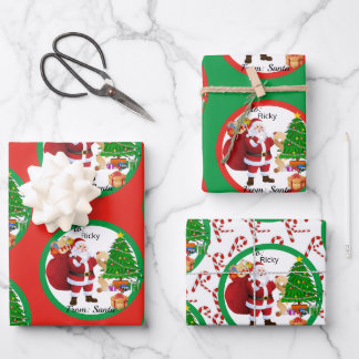 From Santa Claus in Red & Green Christmas Kids Wrapping Paper Sheets