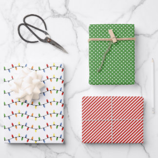 Fun Colorful Festive Party String Lights Pattern Wrapping Paper Sheets