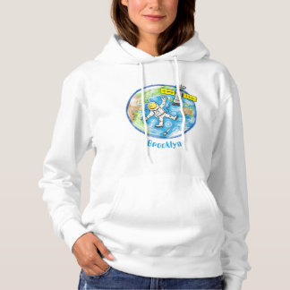 Funny astronaut in space and earth cartoon hoodie