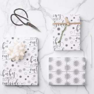 Funny BABY ITS COVID OUTSIDE Silver Glitter Wrapping Paper Sheets
