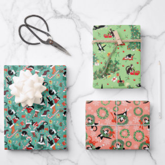 Funny cat holiday trio wrapping paper sheets