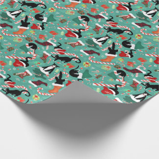 Funny cats and stockings pattern wrapping paper