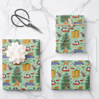 Funny Cats Christmas Green Wrapping Paper