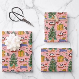 Funny Cats Christmas Wrapping Paper - Pink