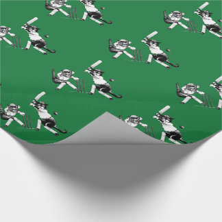 Funny Cats Playing Cricket Wrapping Paper