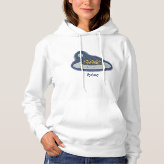 Funny chickens in space cartoon illustration hoodie