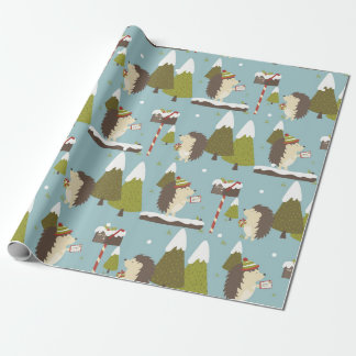 Funny Christmas Hedgehogs Kids Wrapping Paper