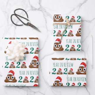 Funny Covid Christmas Poop Year Review Quarantine Wrapping Paper Sheets